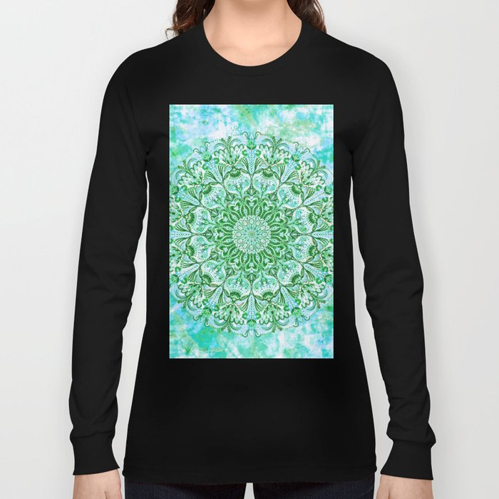Ocean Aqua Blue Watercolor Mandala , Relaxation & Meditation Turquoise Flower Circle Pattern Long Sleeve T-shirt