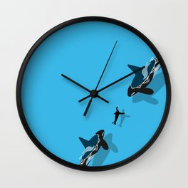 Killer whale hunting a seal Wall Clock