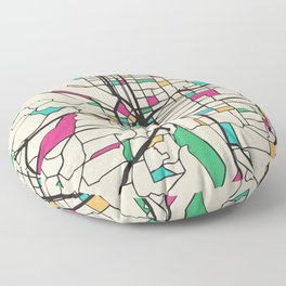 Colorful City Maps: Portland, Oregon Floor Pillow