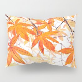 orange maple leaves watercolor Pillow Sham