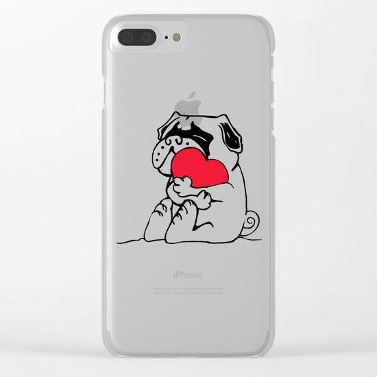 Pug Heart Clear iPhone Case