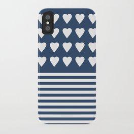 Heart Stripes Navy iPhone Case