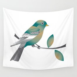 Teal and Gold Bird on a Tree Limb Wall Tapestry