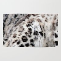 snow leopard Area & Throw Rugs featuring Snow Leopard by Moody Muse
