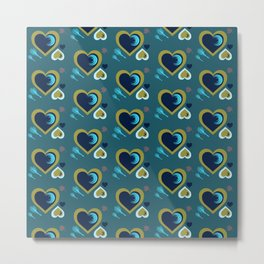 Hearts in Peacock Metal Print