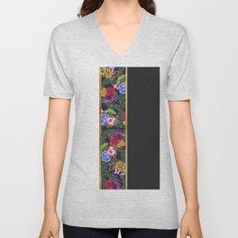 Watercolor Flowers Black White Gold Color Blocks Unisex V-Neck