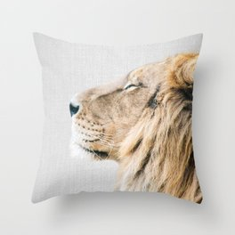 Lion Portrait - Colorful Throw Pillow