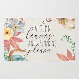 autumn leaves and pumpkins please Rug