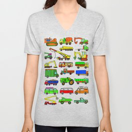 Doodle Trucks Vans and Vehicles Unisex V-Neck