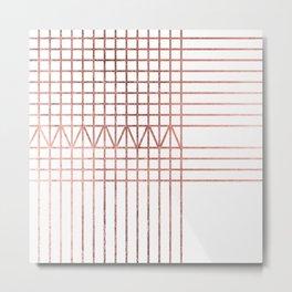 Elegant modern white faux rose gold geometrical lines Metal Print