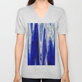 Zigzag Cobalt Blue Unisex V-Neck