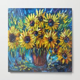 SUNFLOWERS — Palette knife Metal Print