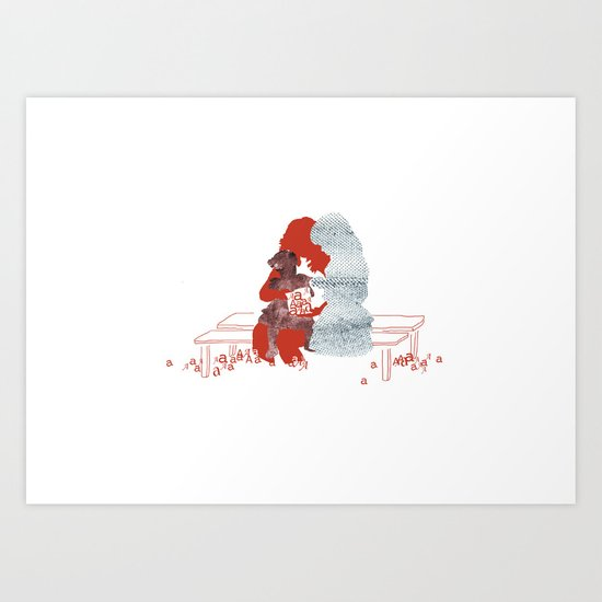 mother and daughters Art Print
