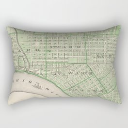 Vintage Map of Evansville Indiana (1876) Rectangular Pillow