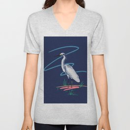 Egret on the Bayou Unisex V-Neck