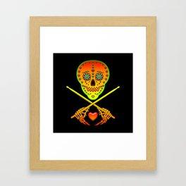 Neon Sugar Skull Drummer. Framed Art Print