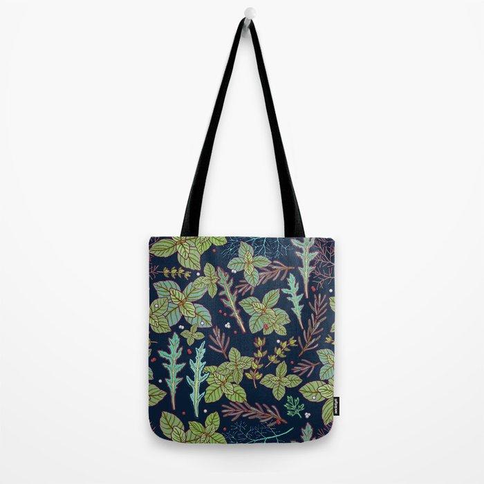 dark herbs pattern Tote Bag
