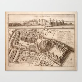 Vintage Pictorial Map of Windsor Castle (1677) Canvas Print