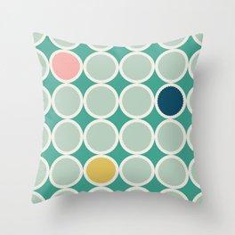 Scalloped Circles in Seafoam Throw Pillow