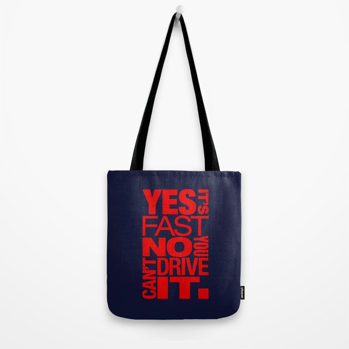 Yes it's fast No you can't drive it v5 HQvector Tote Bag