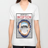inception V-neck T-shirts featuring Inception Minimalist Film Poster by Sean Breeding Arthouse