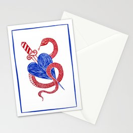 Evil Twin - Red and Blue heart dagger snake Stationery Cards