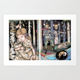 Girl and Wolf Separate Art Print