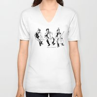 cello V-neck T-shirts featuring Cello player by Suzannah Rowntree
