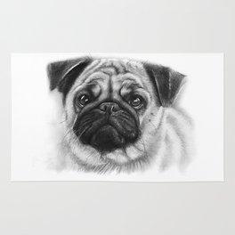 Cute Pug Dog Animal Pugs Portrait Rug