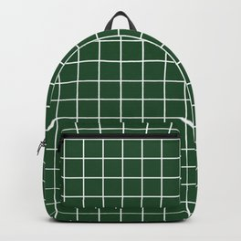 Cal Poly Pomona green - green color - White Lines Grid Pattern Backpack