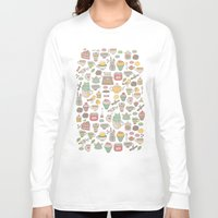 macaroon Long Sleeve T-shirts featuring Tea time by Anna Alekseeva kostolom3000