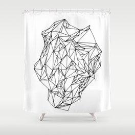 Geometric pattern 02 black and white linework Shower Curtain