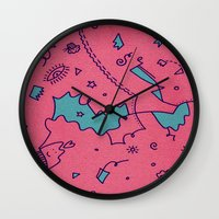 talking heads Wall Clocks featuring Talking Heads by Amanda Trader