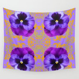 FOUR  PURPLE PANSIES ON LILAC  BROCADE GARDEN Wall Tapestry