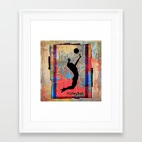 volleyball Framed Art Prints featuring Volleyball Girl by beeczarcardsandgifts