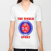 soccer V-neck T-shirts featuring SOCCER  by Robleedesigns