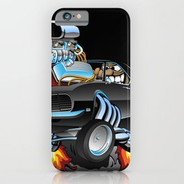 Classic Sixties American Muscle Car Popping a Wheelie Cartoon Illustration iPhone Case