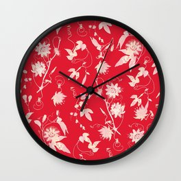 Festive Christmas Bright Red Passion Flowers Wall Clock