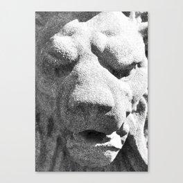 Concrete Lion Head Canvas Print