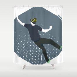 bouldering man Shower Curtain