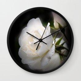 white rose and rosebud on black Wall Clock