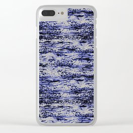 scribbled texture horizontal in deep blue Clear iPhone Case