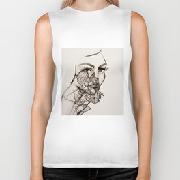 Woman, peonies and rebirth Biker Tank
