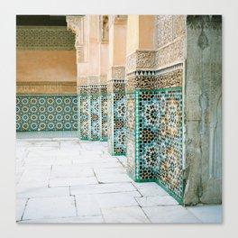 tiles in Medersa Ben Youssef Canvas Print