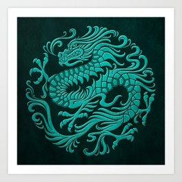 Traditional Teal Blue Chinese Dragon Circle Art Print
