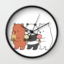 Baby Bears Eating Some Ice Cream Wall Clock