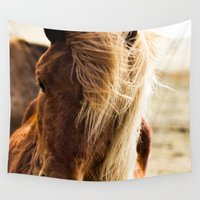 iceland Wall Tapestries featuring A Pony in Iceland by The Blonde Dutch Girl