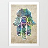 hamsa Art Prints featuring Hamsa by Klara Acel