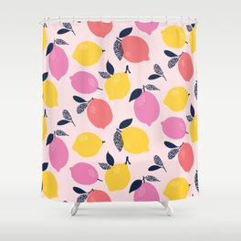 Kitschy Colorful Citrus Pattern Shower Curtain
