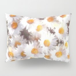 Spring Daisy Wildflower Watercolor Pillow Sham